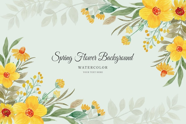 Spring flower frame watercolor yellow floral background