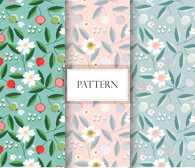 Spring flower and fruit seamless pattern