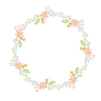 Spring flower herbs wreath. flat abstract  garden frame, woman day romantic holiday