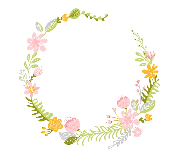 Spring flower herbs wreath with frame