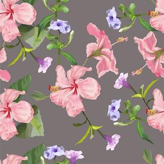 Spring flower hibiscus and ruellia tuberosa seamless pattern  illustration