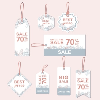Spring flower price tag sale template