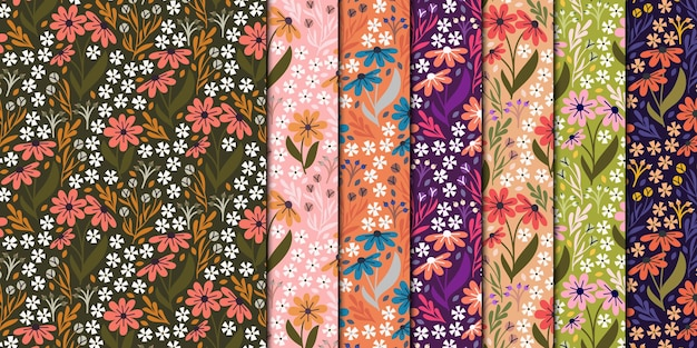 Spring flower seamless pattern collection