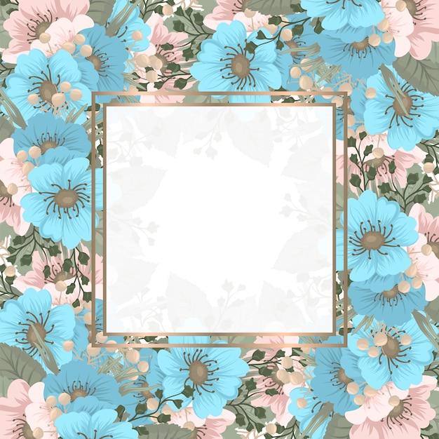 春の花の正方形のフレーム