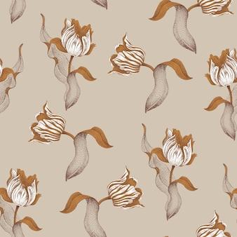Весенний цветок тюльпан. бесшовные цветочный узор. садовый луковичный тюльпан. золотые ветви, листья, цветы на сером фоне.