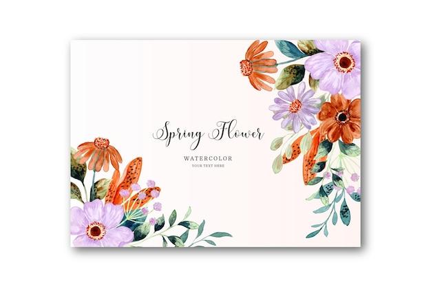 春の花の水彩カード