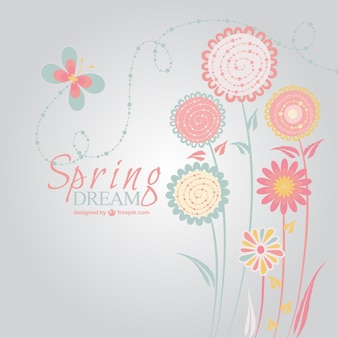 Spring flowers and butterfly background
