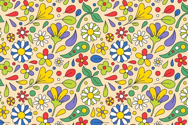 봄 꽃과 나뭇잎 그루비 플로랄 패턴