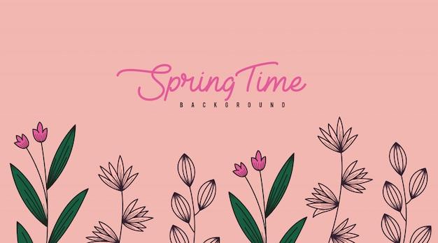 Spring flowers banner background