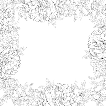 Spring flowers bouquet frame of peonies garland.