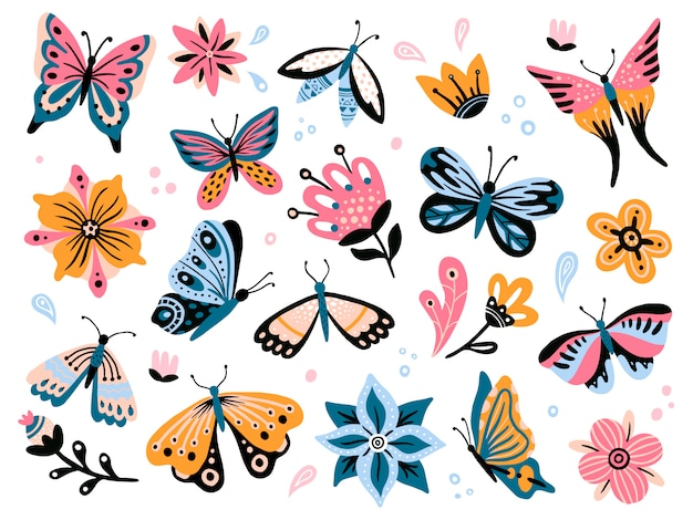 Spring flowers and butterflies. colorful garden flower, floral decor and elegant butterfy isolated  set