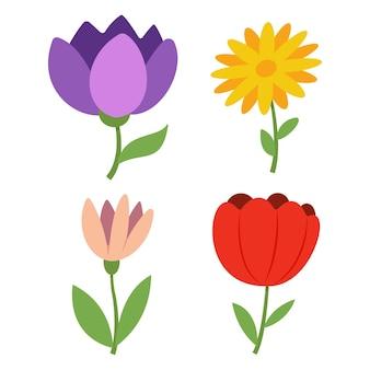 白い背景で隔離の春の花漫画イラスト。