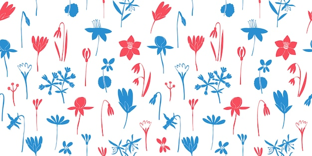 Spring flowers color seamless pattern. hand drawn illustrations