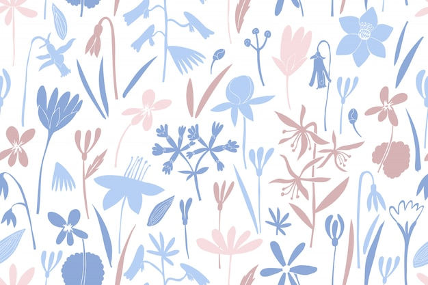 Spring flowers colour seamless vector pattern.
