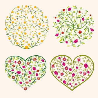 Spring flowers compositions in circle and hearts shapes
