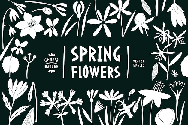 Spring flowers design template.