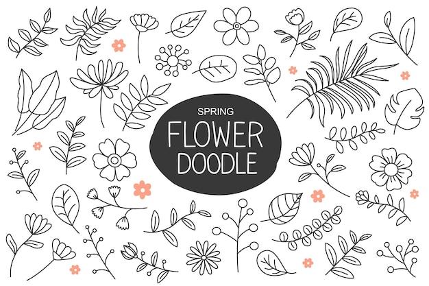 春の花は手描きのスタイルで落書き。花と葉の要素のコレクション。