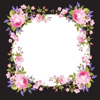 春の花のフレームの背景。
