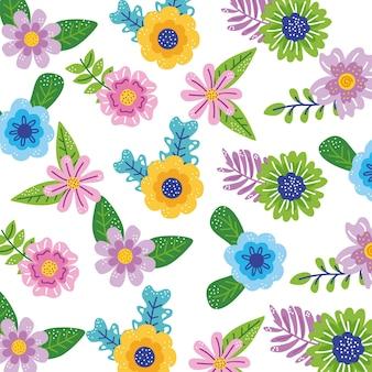 春の花の庭のパターンの背景