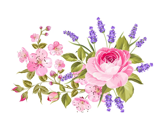 Spring flowers garland.