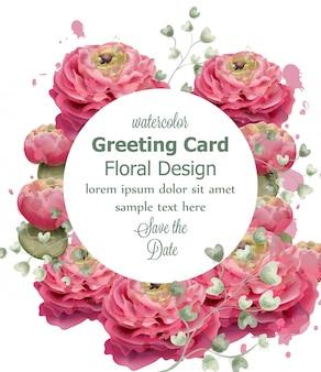 Spring flowers greeting card watercolor