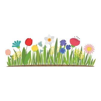 정원에서 자라는 봄 꽃. 튤립, 수선화 및 기타 꽃