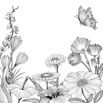 Spring flowers hand drawing vintage style on white background