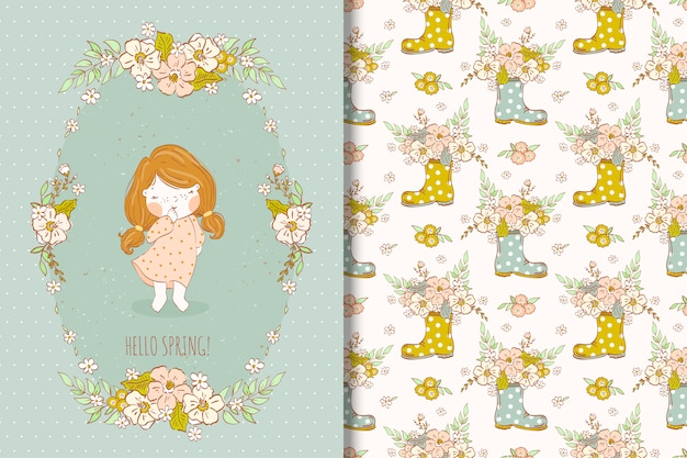 Spring flowers illustration with cute little girl seamless pattern
