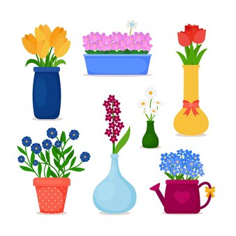 냄비에 봄 꽃과 꽃병 세트에 꽃.