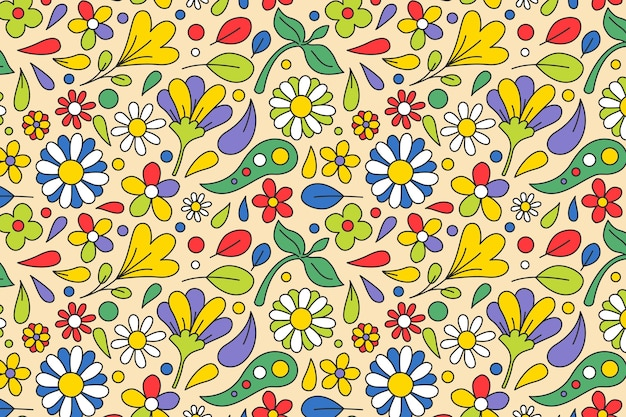 Spring flowers and leaves groovy floral pattern