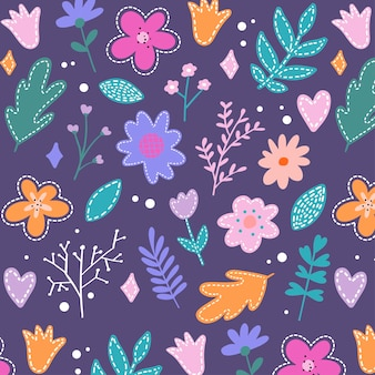 Spring flowers retro illustrations in bright colors