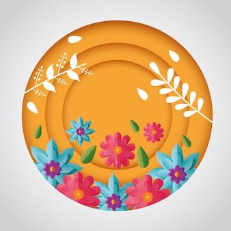 Весенние цветы круглый дизайн композиции