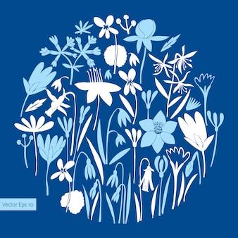 Spring flowers round design.