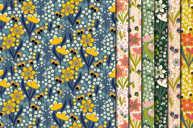 Spring flowers seamless pattern collection