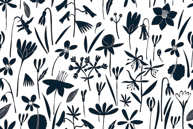 Spring flowers seamless  pattern. scandinavian style print. hand drawn illustrations