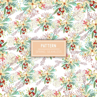 Spring flowers seamless pattern