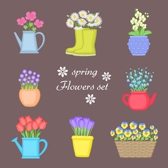 春の花セット。別のポットに植えられた花の花束。水まき缶、バスケット、ゴム長靴。蘭、カモミール、鈴、チューリップ、スミレ、クロッカス。図。