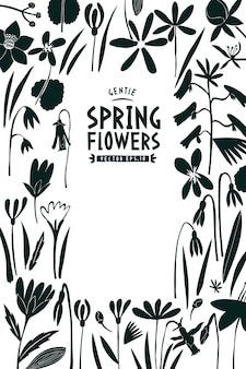 Spring flowers template.