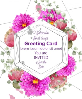 Spring flowers wedding card watercolor