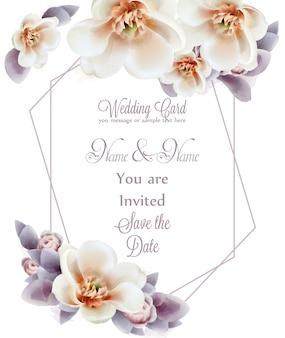 Spring flowers wedding invitation watercolor