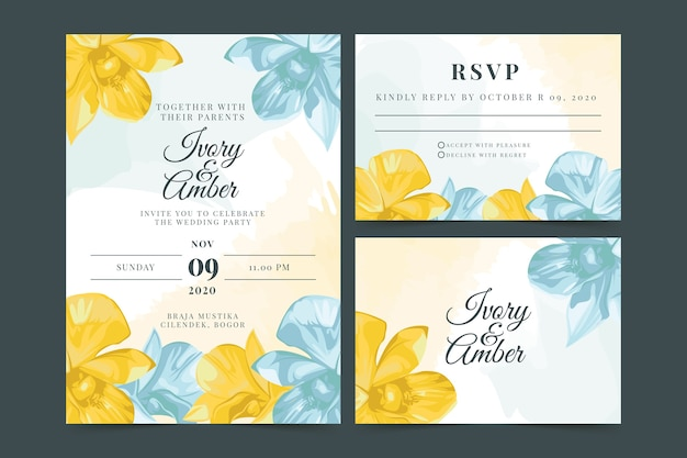 Spring flowers wedding stationery