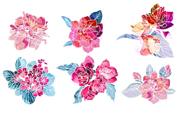 Spring flowers with alcohol ink texture on background