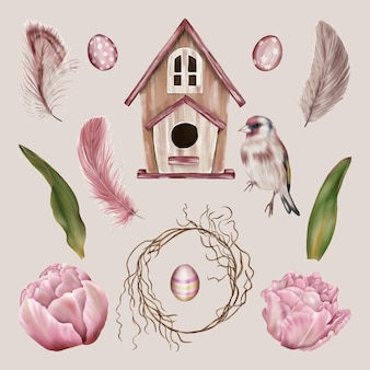 鳥の家と春の花