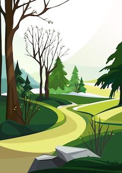 さまざまな木がある春の森。垂直方向の自然景観。