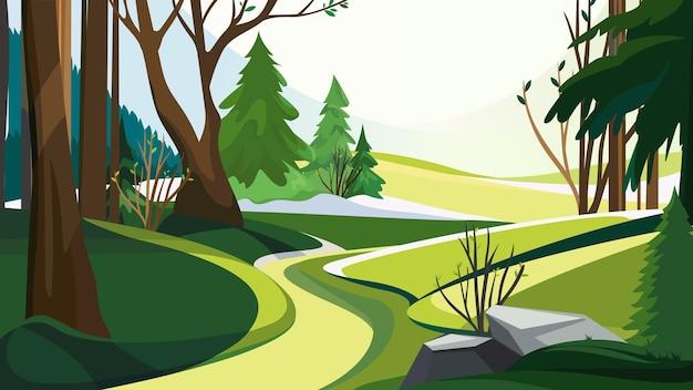 さまざまな木々のある春の森 Premiumベクター