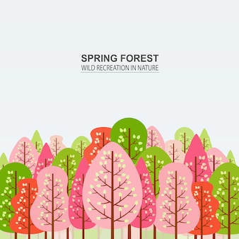 Spring forest with pink, red and green trees.