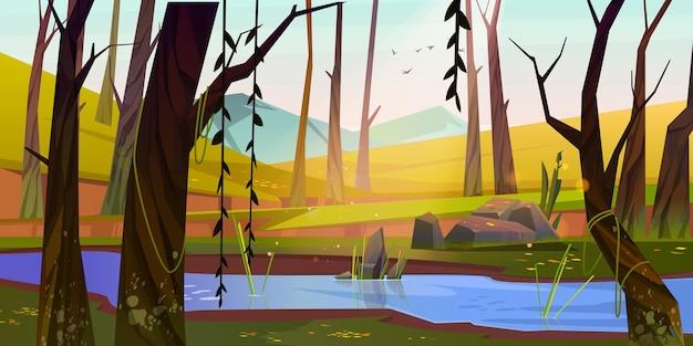 Foresta primaverile con fiume e montagne al tramonto