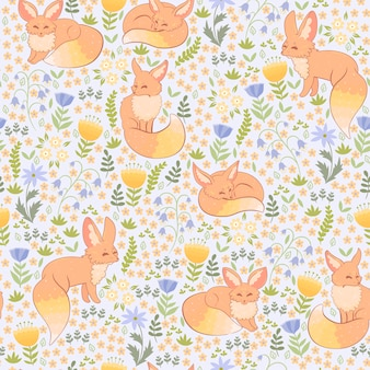 Spring foxes and flora seamless pattern.
