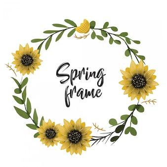 Spring frame background hand drawn