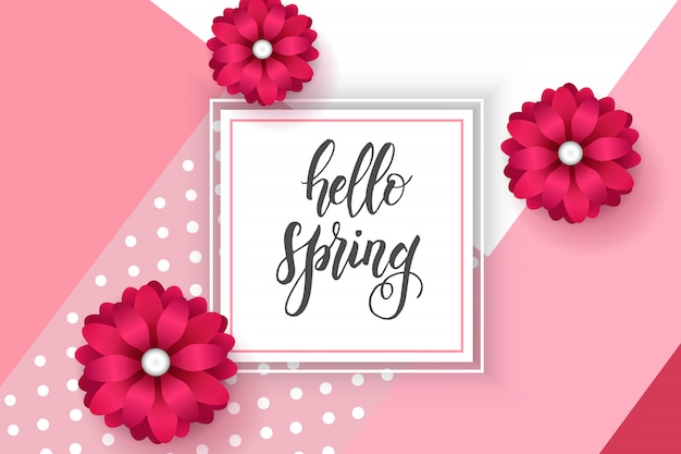 Spring frame and realistic flowers on pink with hand made trendy lettering